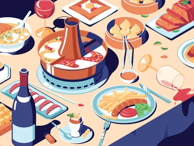 Foodblog Illustration fries dinner isometric noodles wine dumplings german sushi korean chinese food