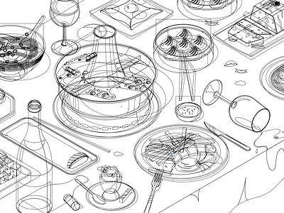 Foodblog Illustration fries dinner isometric noodles wine dumplings german sushi korean chinese food