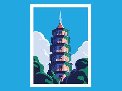 Kew Gardens Pagoda isometric building london asia pagoda