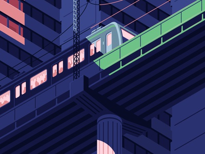 Subway line 2 in Seoul isometric transportation asia infrastructure train korea subway