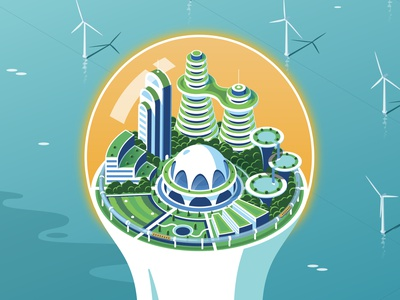 Capital Thinking Magazine Cover isometric power solar wind ocean future city green energy clean