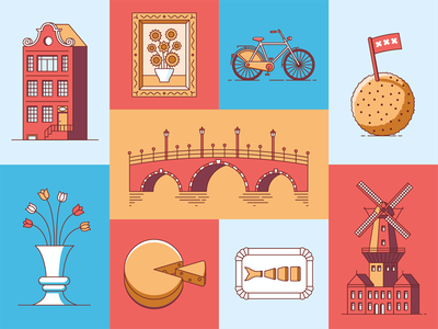 Amsterdam icons line icons holland canal cheese windmill flowers city food dutch amsterdam