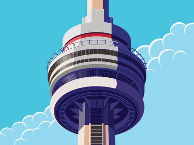 CN Tower clouds sky observation isometric canada toronto cn tower