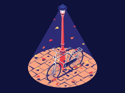 Autumn mood light seasons colors leafs storm amsterdam isometric bike autumn