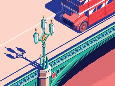 60's London isometric city thames bridge uk routemaster bus london