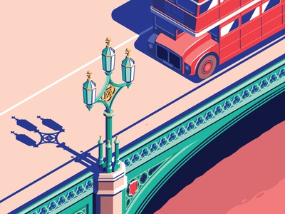 60's London isometric city thames bridge uk routemaster bus london