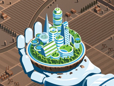 Metropolis 2067 green tech countryside hand robot ai city future