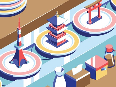 Sushi food isometric city tower tokyo japan sushi