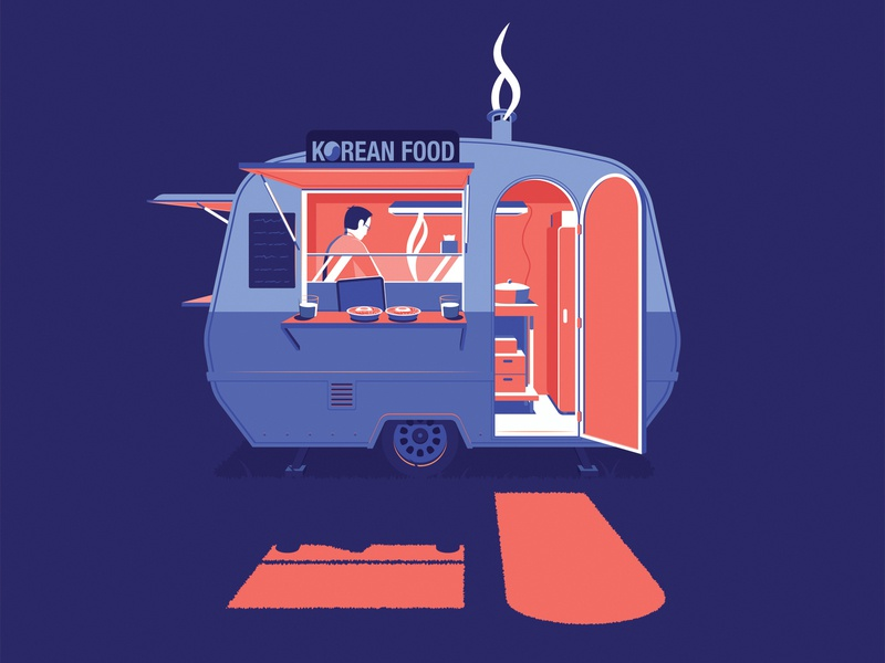 Korean Foodtruck korean night truck illustration amsterdam korea seoul food