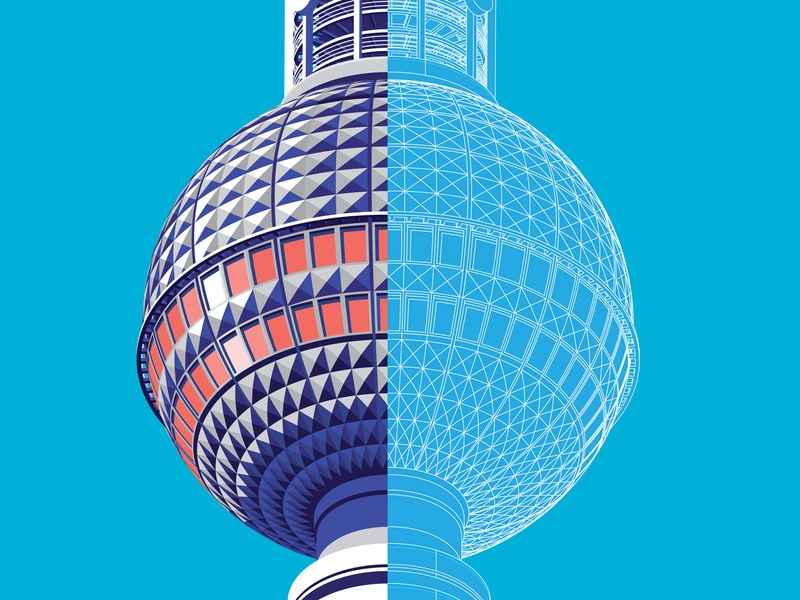 Berlin TV Tower architecture tower isometric germany berlin
