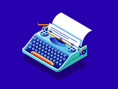 Isometric writing objects modern futuristic blue writing typewriter technology isometric