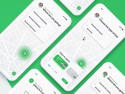Green Taxi - 01     Daily UI madewithxd booking navigation map ios green clean taxi app taxi app design aplication