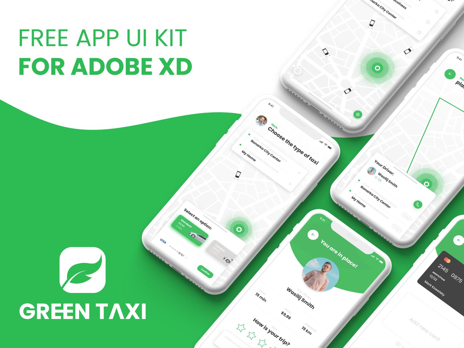 Green Taxi - 03 | Free App UI Kit
