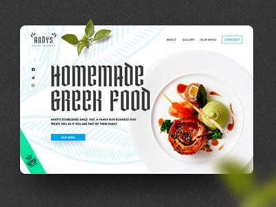 N.49 - Andy's Greek Taverna / Website olive greek food restaurant web app icon ux ui typography identity logo branding