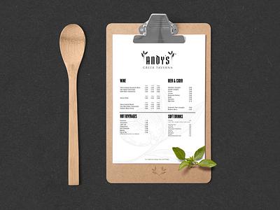 N.49 - Andy's Greek Taverna / Menu food menu flyer type restaurant premium hardcore black typography identity logo branding