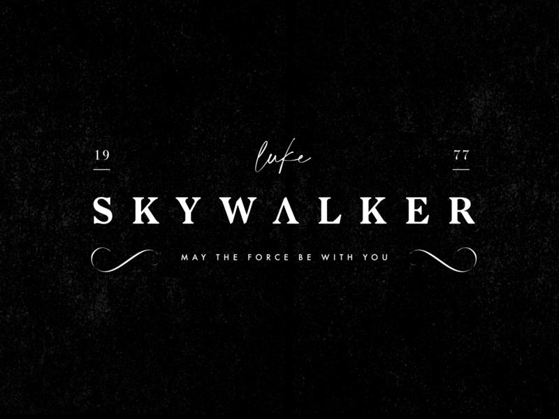 Luck Skywalker Logo elegant handwritten premium clean brush type jedi black typography starwars logo identity branding
