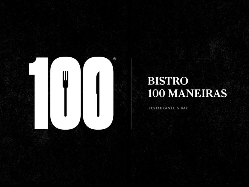 100 Maneiras - Restaurant fork condensed bold bistro restaurant bar design premium hardcore black street typography logo identity branding