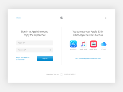 Apple Sign Up study firstshot dailyui concept challenge apple 001