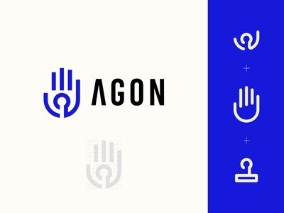 Agon illustration design logo man hand joystick victory