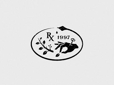 Pharmacy of 1997 rx snake leaf palm hand herbal herbs key logo pharmacy