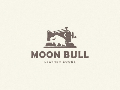 Moon bull sewing machine logo bull moon leather leather goods