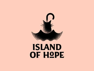 island of hope shelter umbrella cat logoset behance