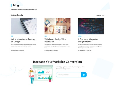 Design Agency Landing Page Blog Section