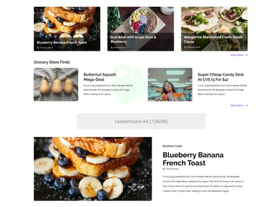 Food Blog Featured Content Sections