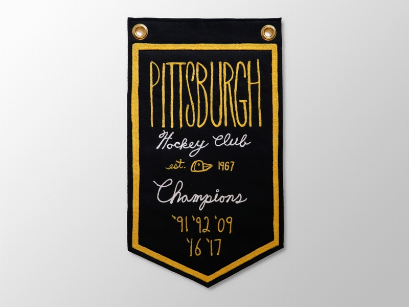 Pittsburgh Hockey Club Banner apparel graphics graphic design pittsburgh pittsburgh penguins nhl hockey embroidery handmade font branding illustration handmadefont sports