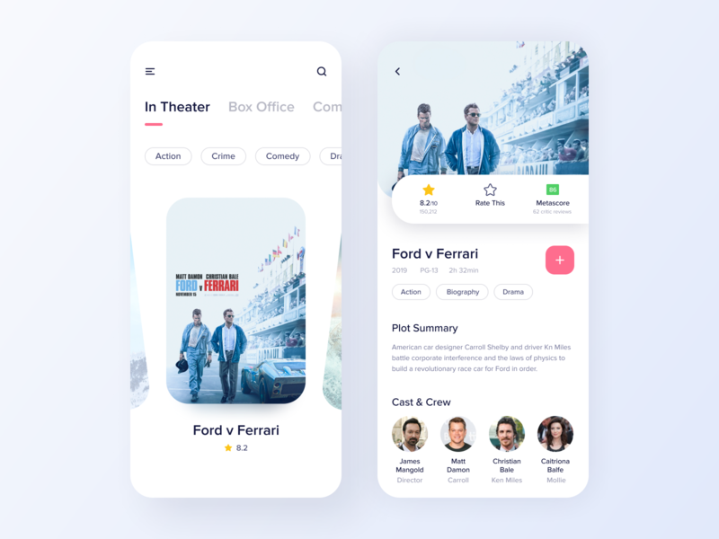 Movie App [Free] freebie free app design ticket booking app entertaiment app movie app ux design ui design trending design 2020 trend mobile design mobile app design minimal app design material app design iphone app ios app clean app design app screen app design android app