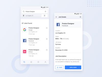 Job List & Job Details Screen - App Design