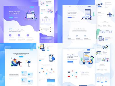 Top 4 Shots 2018 illustration gradient ux design web design ui design website homepage lander landing page