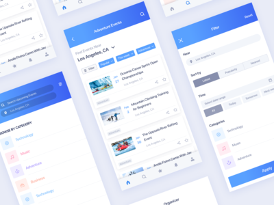 Event App | List, Search & Filter screens