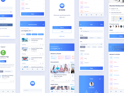 Evon - Event App search results filter screen profile screen login screen event app ux design ui design trending design 2019 trend mobile design mobile app design mobile app minimal app design material app design iphone app ios app clean app design app screen app design android app