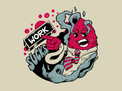 Done Workin' mascot badge drawing illustration