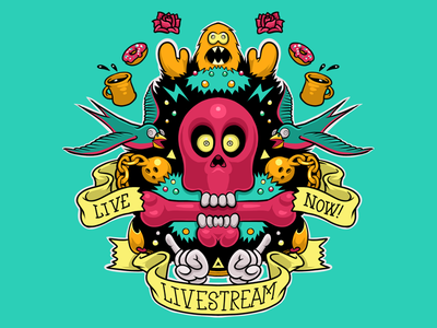 Random Livestream Graphic odd skulls drawing
