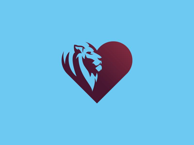 Lionheart Logo branding heart lion logo