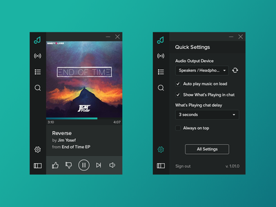 Pretzel Player Quick Settings desktop app ux ui