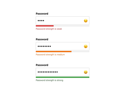 Password strength (free download) strong medium weak emoji textfield security input form micro interaction microinteraction password