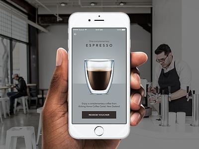 Coffee rewards app minimal ui rewards loyalty 097 barista espresso redeem voucher cafe coffee