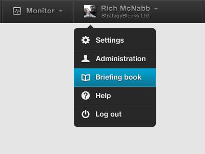 iPad menu concept (WIP) log drop down menu dark log out ipad app ipad navigation icons ui monitor dashboard dropdown menu select menu dark ui interface dark interface menu toolbar select