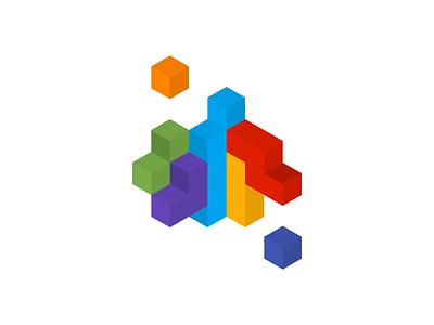 Isometric cubes blocks vector colors illustration cubes tetris isometric