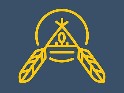 Aboriginal Logo shield geometric simple feather american native tipi teepee design logo aboriginal
