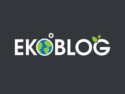 Ekoblog eko ecology save nature leafs design planet moon earth logo blog eco