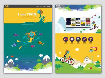 Website Redesign skiing diving mountains sports flow scenes characters design web design web website illustration