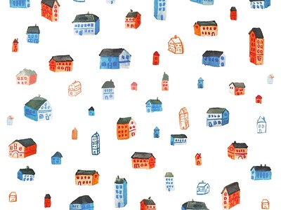 Houses watercolor pattern illustration surface design surface pattern design pattern watercolor houses house