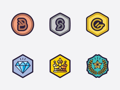 Gaming Level Medal Icons badge game gaming silver bronze epic crown diamond gold level medal icon