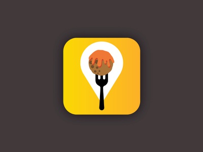WherEat App clean simple eat restaurant location pin fork meatball design app icon travel