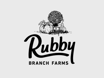 Rubby Farms Logo illustration design farm corn pumpkin hand drawn mums type typography custom font logo ruby