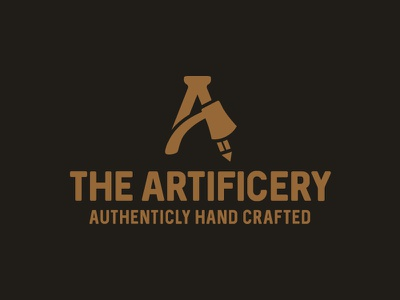 Artificery 1 lettermark art craft artisan pencil axe letter a icon design logo artificiery